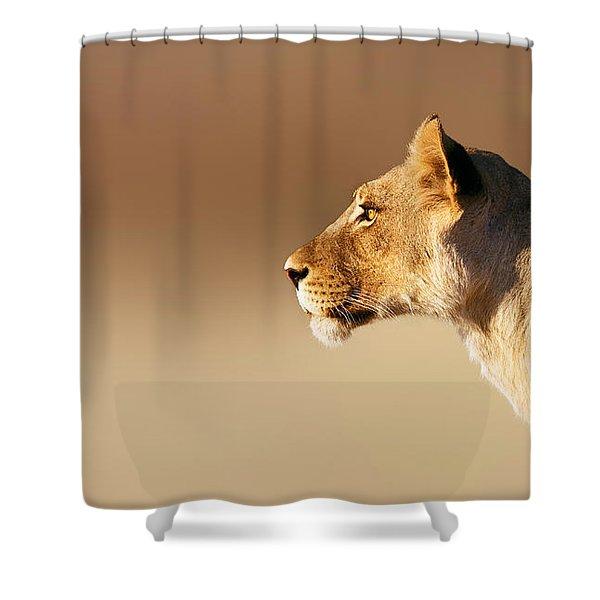 Lioness Portrait Shower Curtain