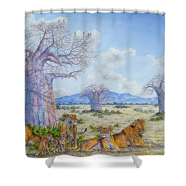 Lions By The Baobab Shower Curtain