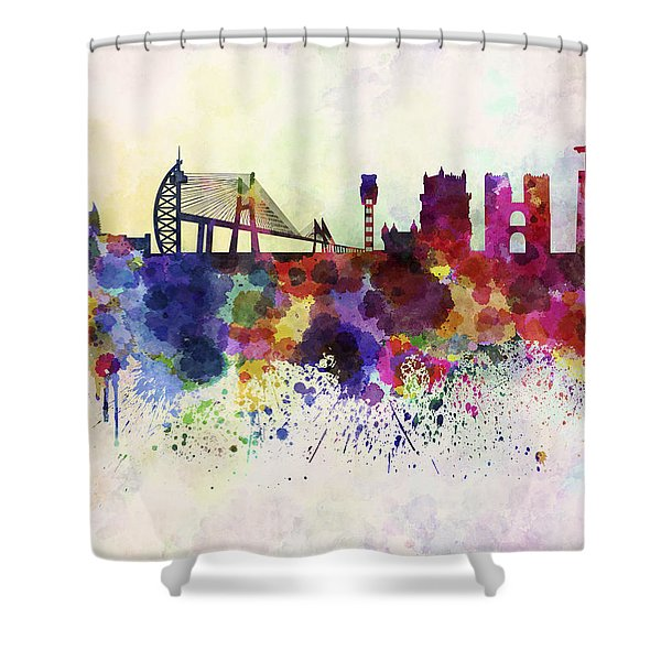 Lisbon Skyline In Watercolor Background Shower Curtain
