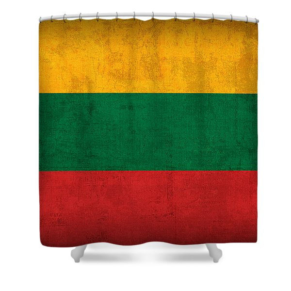 Lithuania Flag Vintage Distressed Finish Shower Curtain