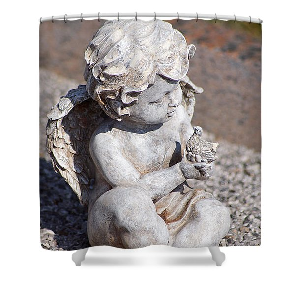 Little Angel With Bird In His Hand - Sculpture Shower Curtain