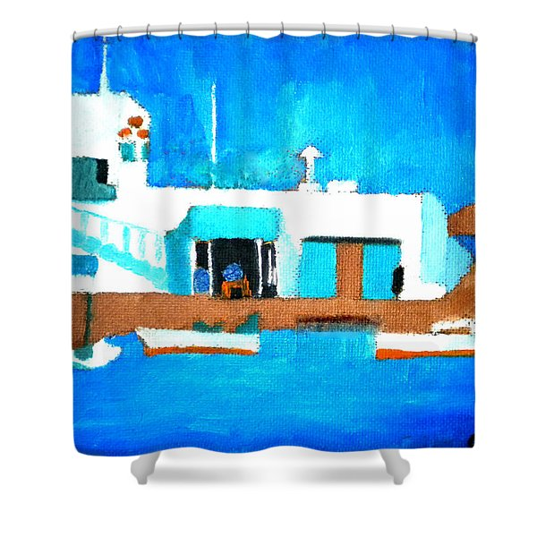 Paros  Cute Spot On Greek Island Shower Curtain
