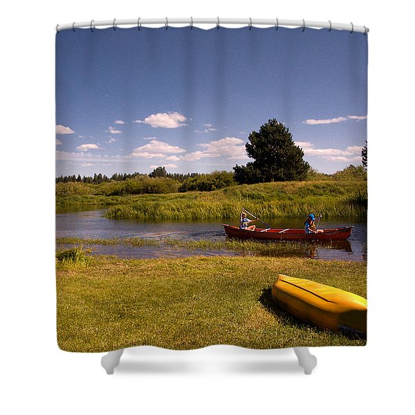 Little Deschutes River Bend Sunriver Thousand Trails Shower Curtain