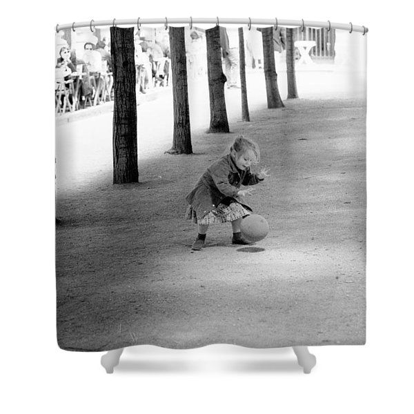Little Girl With Ball Paris Shower Curtain