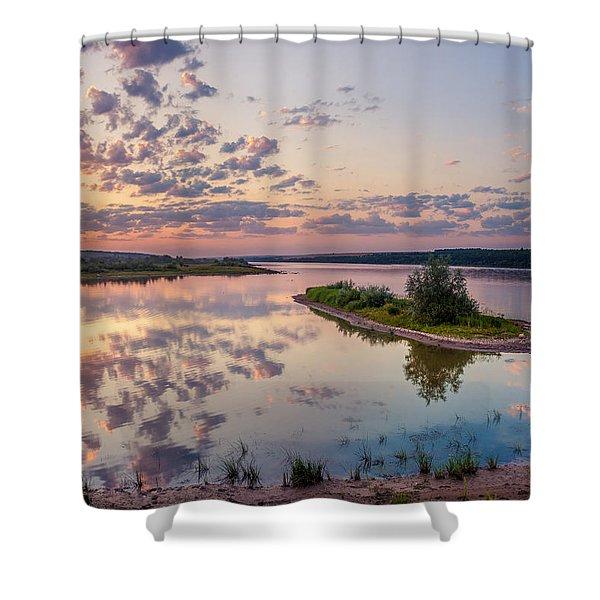 Little Island On Sunset Shower Curtain