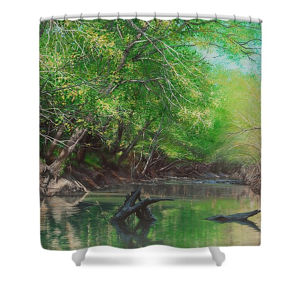 Little Red Morning Shower Curtain