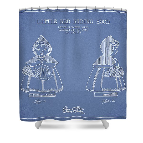 Little Red Riding Hood Patent Drawing From 1943 - Light Blue Shower Curtain