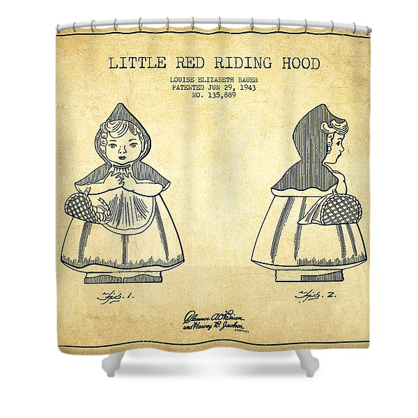 Little Red Riding Hood Patent Drawing From 1943 - Vintage Shower Curtain