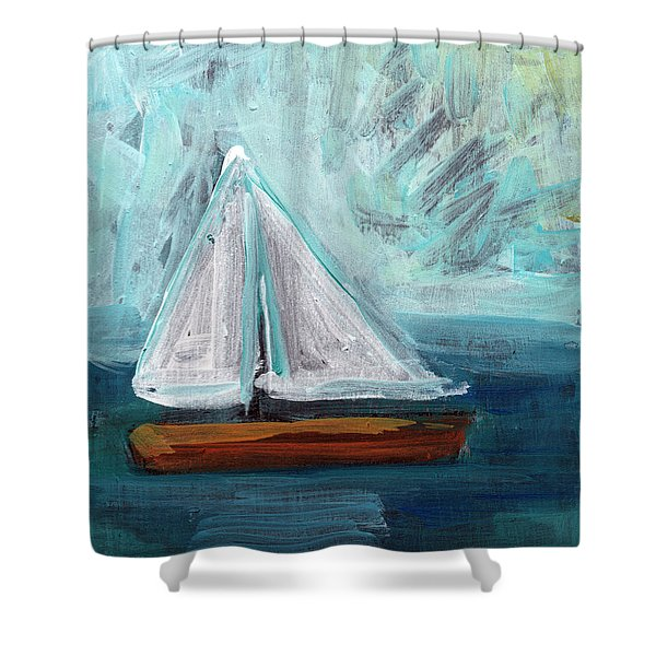 Little Sailboat- Expressionist Painting Shower Curtain