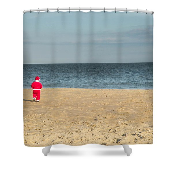 Little Santa On The Beach Shower Curtain