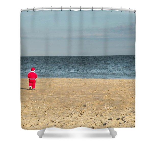 Little Santa On The Beach Shower Curtain