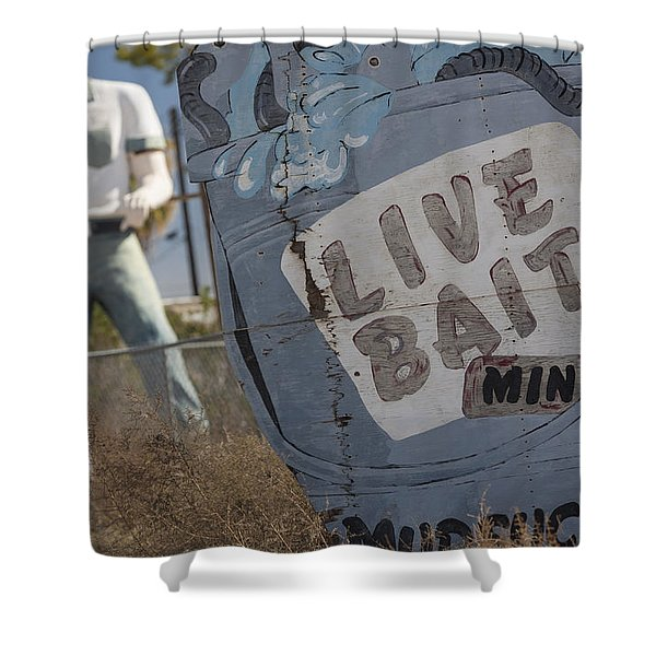 Live Bait And The Man Shower Curtain