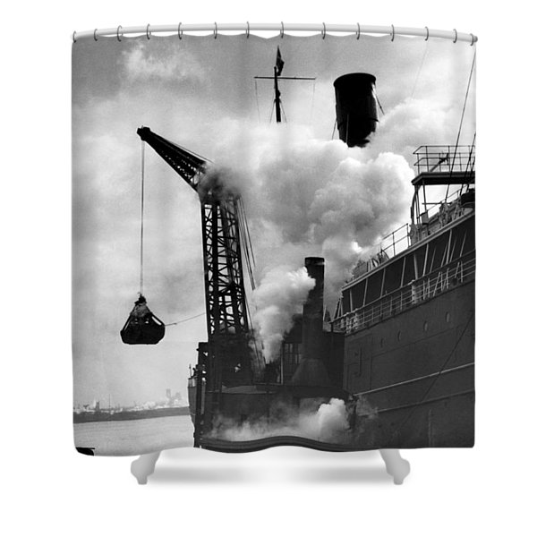 Loading Coal On To A Ship Shower Curtain