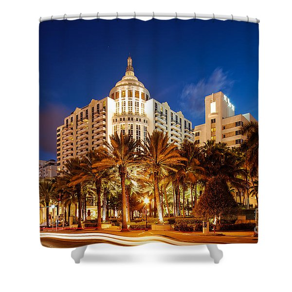 Loews And St. Moritz Hotel On Collins Avenue At Dawn - Miami Beach Florida Shower Curtain