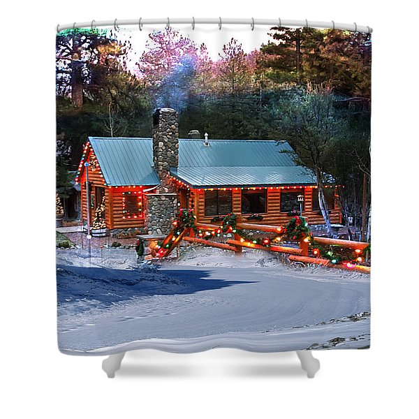 Shower Curtain featuring the photograph Log Home On Mount Charleston With Christmas Decoration by Gunter Nezhoda
