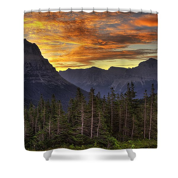 Logan Pass Sunrise Shower Curtain