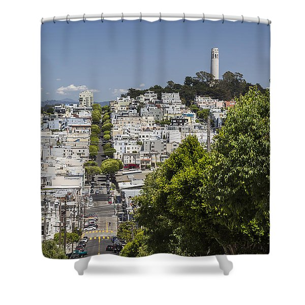 Lombard Street And Coit Tower On Telegraph Hill Shower Curtain