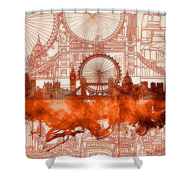 London Skyline Old Vintage 2 Shower Curtain