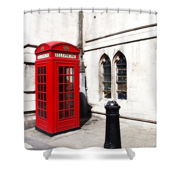 London Telephone Box Shower Curtain