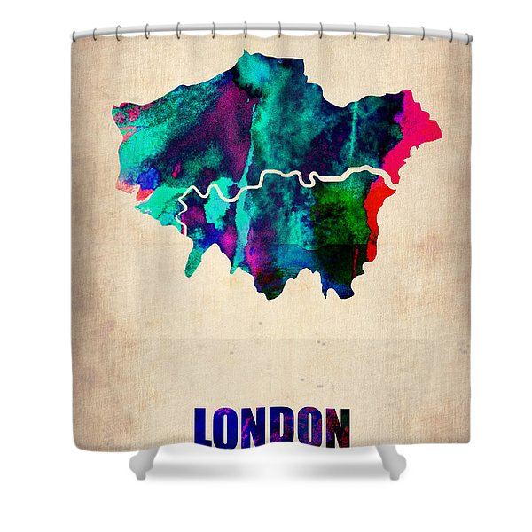 London Watercolor Map 2 Shower Curtain