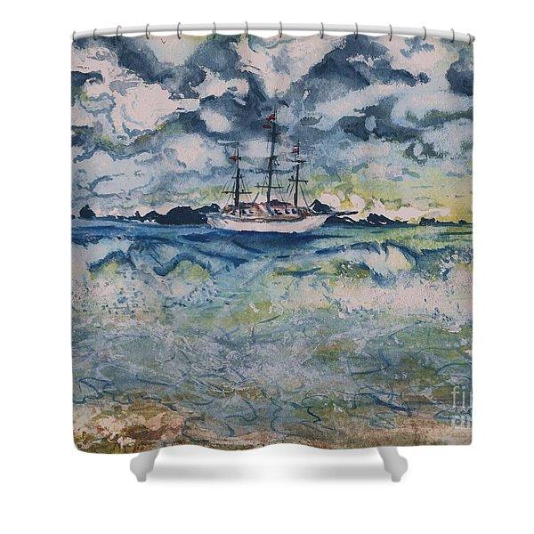 Lone Vessel  Shower Curtain