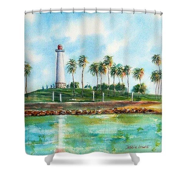 Long Beach Lighthouse  Version 2 Shower Curtain