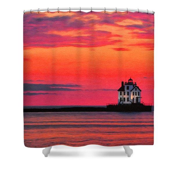 Lorain Lighthouse At Sunset Shower Curtain