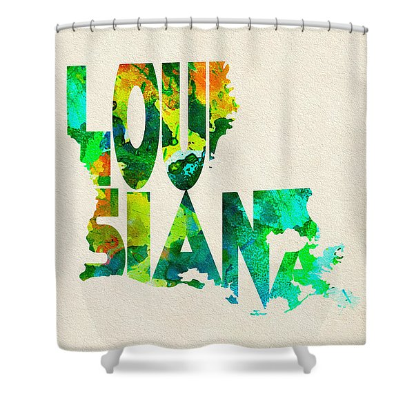 Louisiana Typographic Watercolor Map Shower Curtain