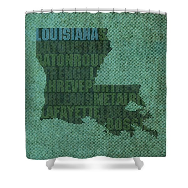Louisiana Word Art State Map On Canvas Shower Curtain