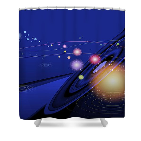 Shower Curtain featuring the digital art Love  Universe by Eleni Mac Synodinos