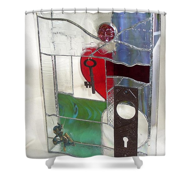 Shower Curtain featuring the glass art Love Unlocks by Karin Thue
