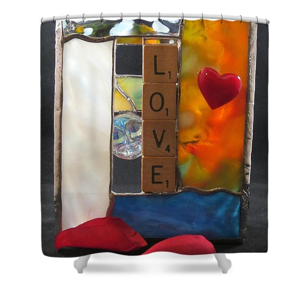 Shower Curtain featuring the glass art Love Window-sill Box by Karin Thue