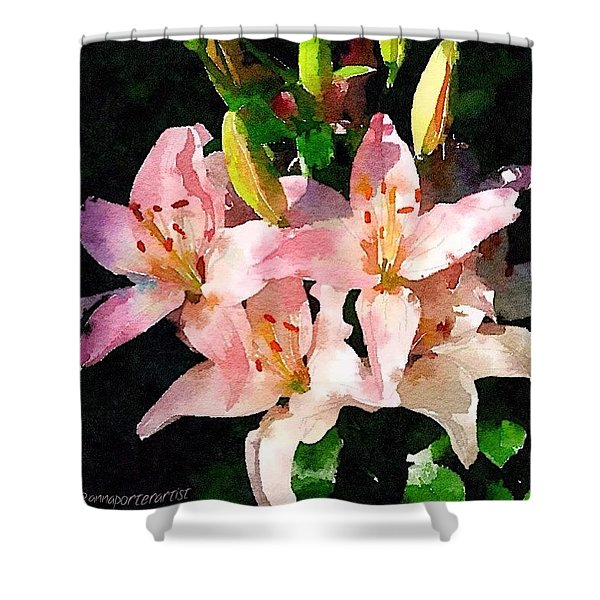 Lovely Lilies Digital Painting Shower Curtain