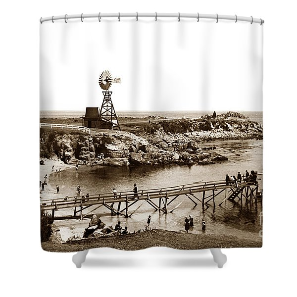 Lovers Point Beach And Old Wooden Pier Pacific Grove August 18 1900 Shower Curtain