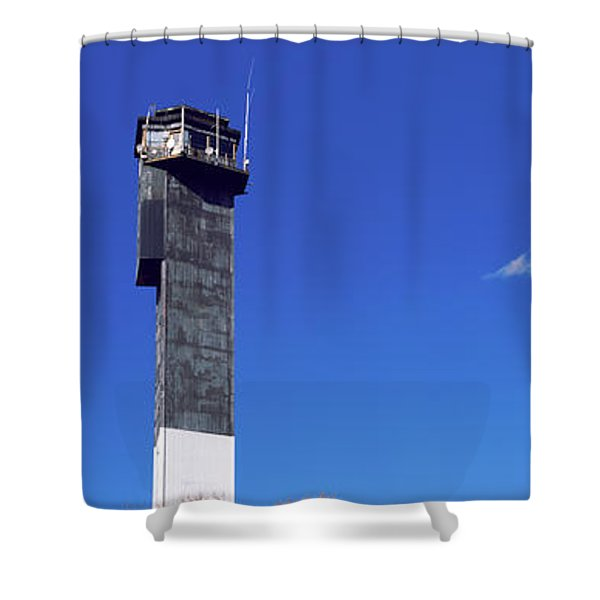 Low Angle View Of A Lighthouse Shower Curtain