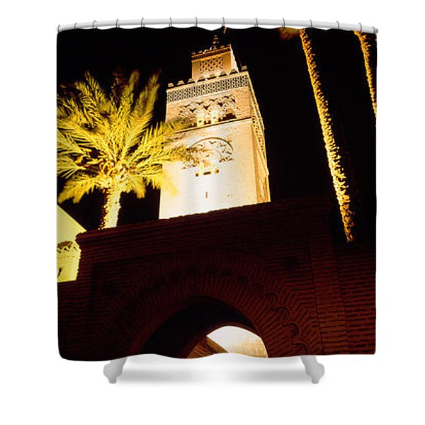 Low Angle View Of A Mosque Lit Shower Curtain