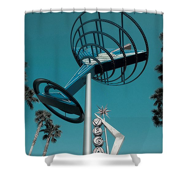 Low Angle View Of A Neon Sign, Fremont Shower Curtain