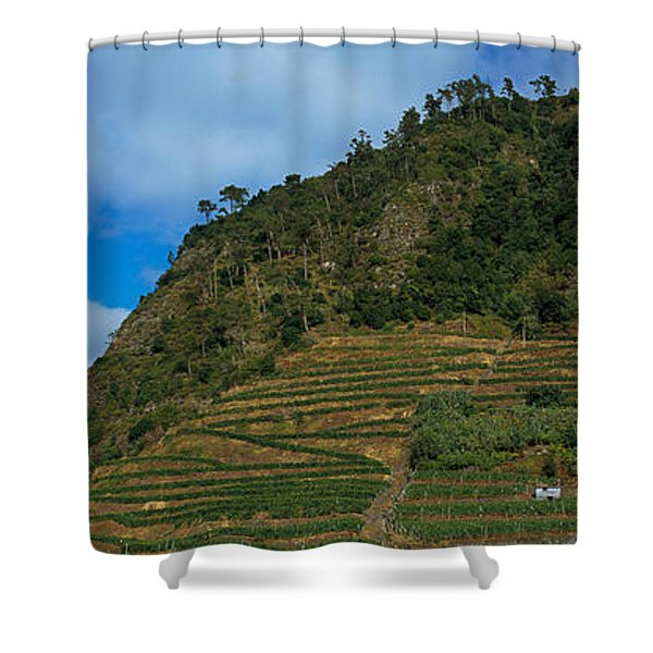 Low Angle View Of Terraced Fields Shower Curtain