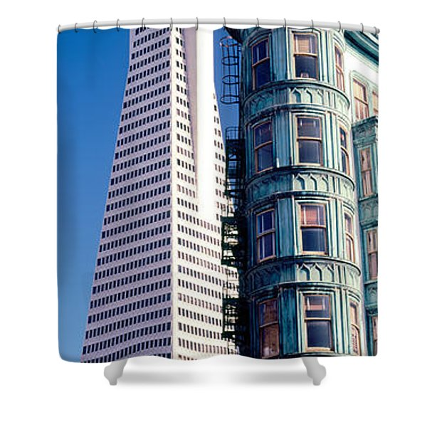 Low Angle View Of Towers, Columbus Shower Curtain