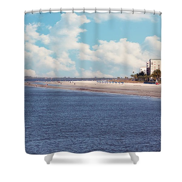Low Tide - Fort Myers Beach Shower Curtain