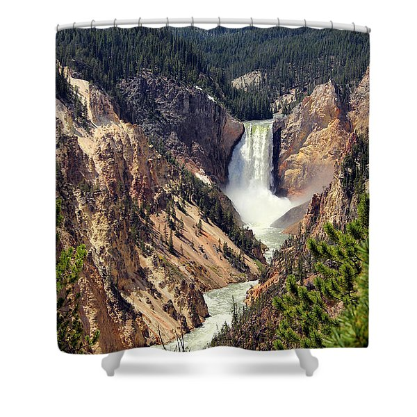 Shower Curtain featuring the photograph Lower Falls Of Yellowstone by Jemmy Archer