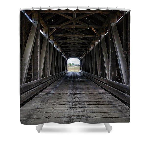 Loys Station Covered Bridge Shower Curtain