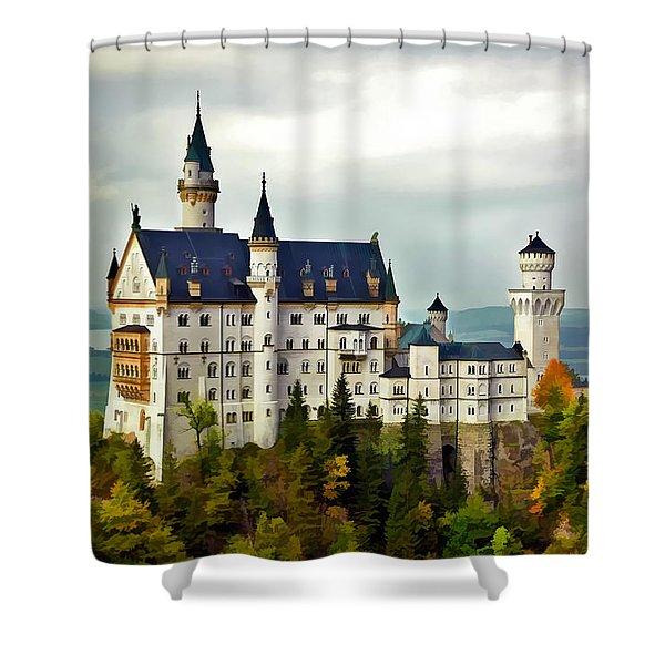 Neuschwanstein Castle In Bavaria Germany Shower Curtain
