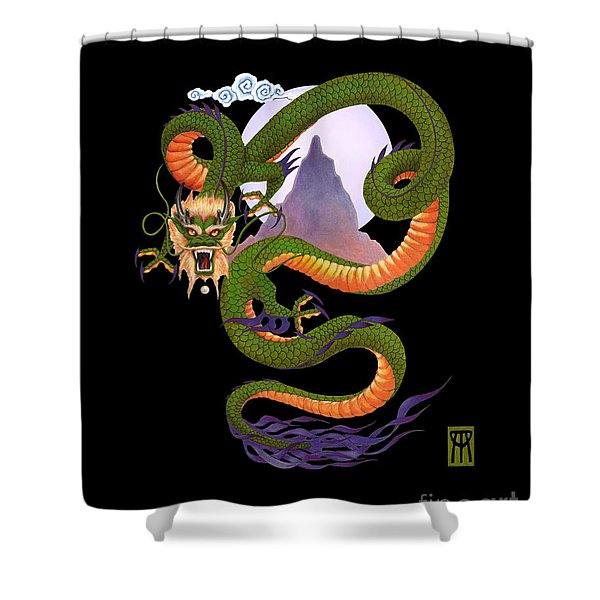 Lunar Chinese Dragon On Black Shower Curtain