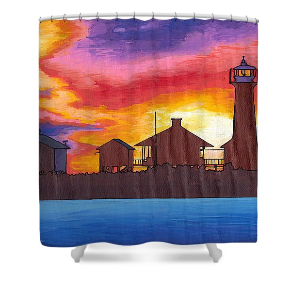 Lydia Anne Lighthouse At Sunset Shower Curtain