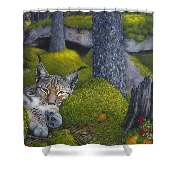 Lynx In The Sun Shower Curtain