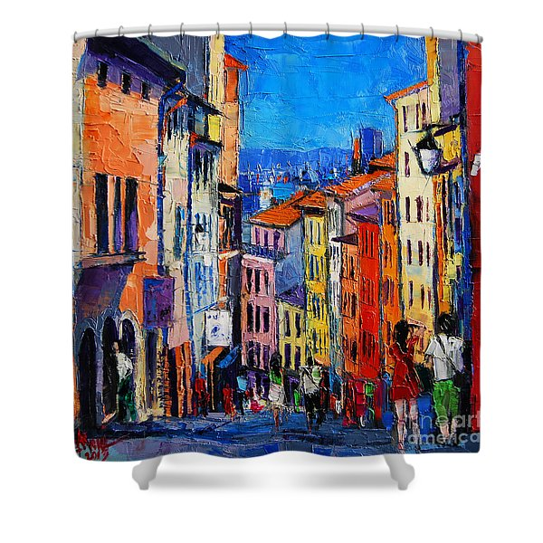 Lyon Colorful Cityscape Shower Curtain