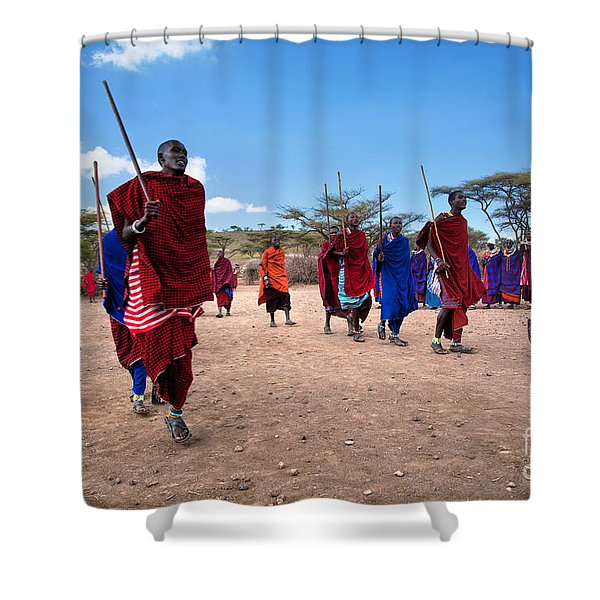 Maasai Men In Their Ritual Dance In Their Village In Tanzania Shower Curtain