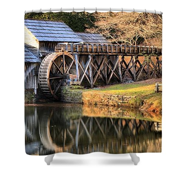 Mabry Grist Mill Fall Panorama Shower Curtain