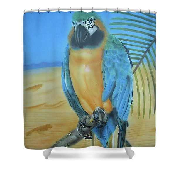 Macaw On A Limb Shower Curtain